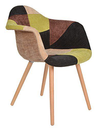 1 x Design Klassiker Patchwork Sessel Retro 50er Jahre Barstuhl Wohnzimmer Büro Küchen Stuhl Esszimmer Sitz Holz Stoff bunt
