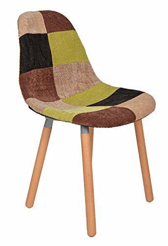 1 x Design Klassiker Patchwork Sessel Retro 50er Jahre Barstuhl Wohnzimmer Küchen Stuhl Esszimmer Sitz Holz Leinen bunt