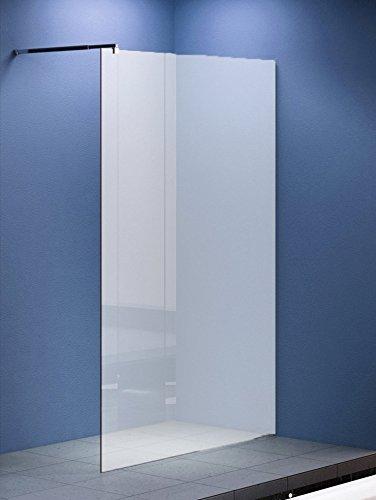 10 mm Duschabtrennung Rahmenlos Düsseldorf - Milchglas, Frost 118 x 200 cm / Walk-In Duschtrennwand Duschwand Dusche