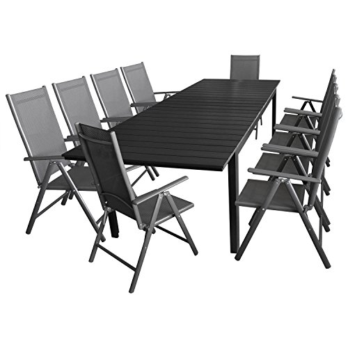11tlg gartengarnitur sitzgruppe terrassenm bel gartenm bel set gartentisch polywood. Black Bedroom Furniture Sets. Home Design Ideas