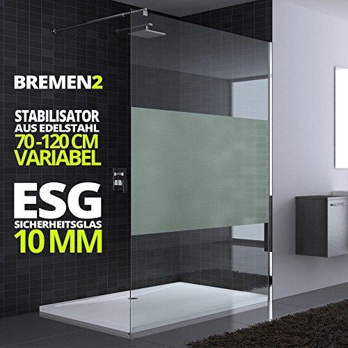 120x200 cm Luxus Duschwand aus Echtglas Bremen2MS, Stabilisator 4-eckig, 10mm ESG Sicherheitsglas Milchglas-Streifen, inkl. Nanobeschichtung