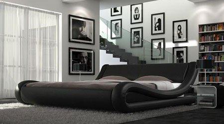 140 Schwarz Designer Lederbett Doppelbett Europäischen Stil