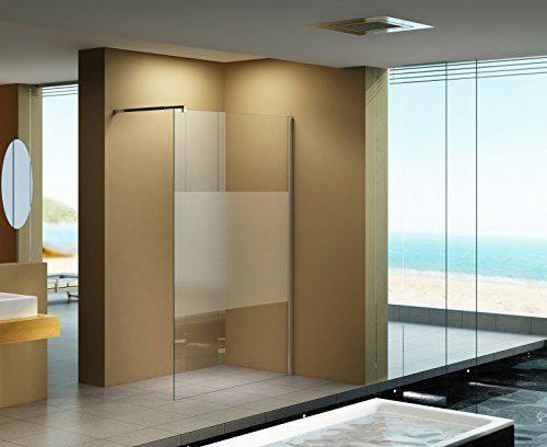 140x200 cm Duschabtrennung LILY Frost - Mitte , Milchglas, Klarglas, Duschwand, Walk-In Dusche, 10 mm ESG Sicherheitsglas