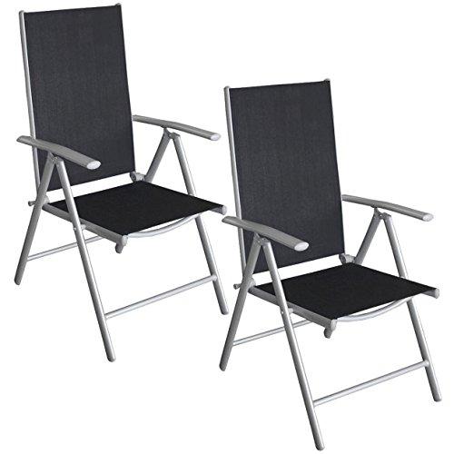 2 stck aluminium gartenstuhl klappstuhl hochlehner positionsstuhl liegestuhl mit robuster. Black Bedroom Furniture Sets. Home Design Ideas