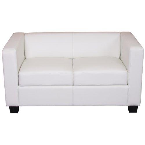 2er Sofa Couch Loungesofa Lille ~ Kunstleder, weiß