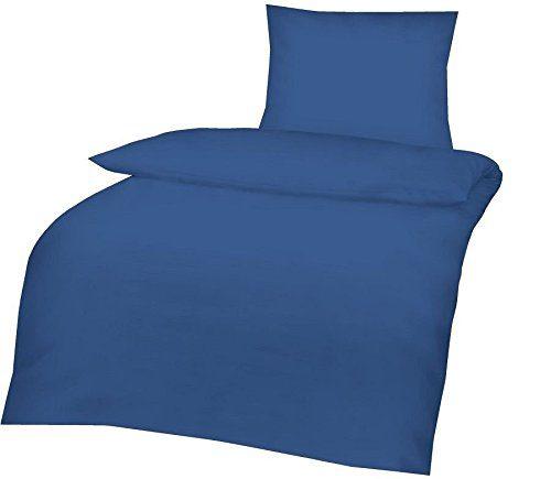 2tlg Baumwoll Bettwäsche Set in Hochwertiger RENFORCE Qualität 135x200cm + 80x8 cm in UNI Einfarbig Royal Blau NEU mit RV
