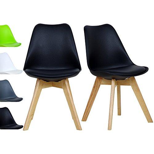 2x Esszimmerstühle 2er Set Esszimmerstuhl Design Stuhl Küchenstuhl Holz, Neu Design,Schwarz,BH29sz-2