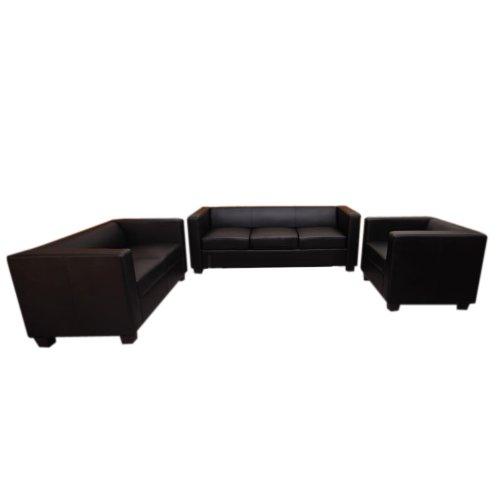 3-2-1 Sofagarnitur Couchgarnitur Loungesofa Lille ~ Leder, schwarz