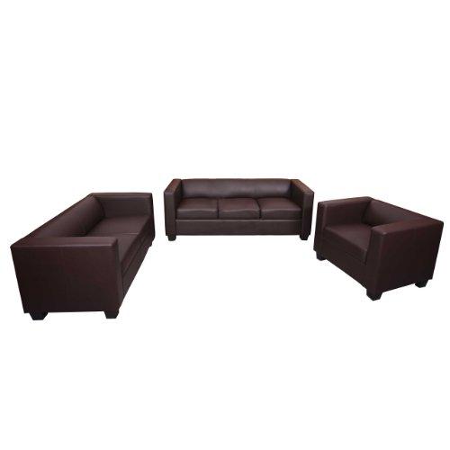 3-2-1 Sofagarnitur Couchgarnitur Loungesofa M65, Kunstleder ~ braun