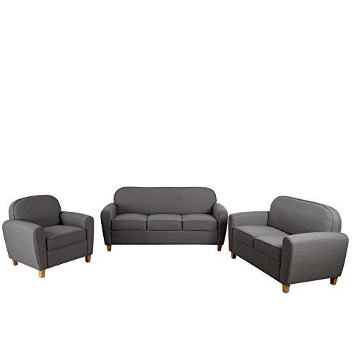 3-2-1 Sofagarnitur Malmö T377, Couch Loungesofa, Retro 50er Jahre Design ~ dunkelgrau, Textil