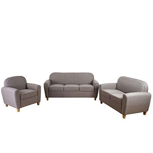 3-2-1 Sofagarnitur Malmö T377, Couch Loungesofa, Retro 50er Jahre Design ~ grau, Textil