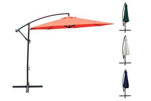 3m Ampelschirm, Sonnenschirm, Gartenschirm, Sonnenschutz, Kurbelschirm, Schirm, Ampel (Beige)