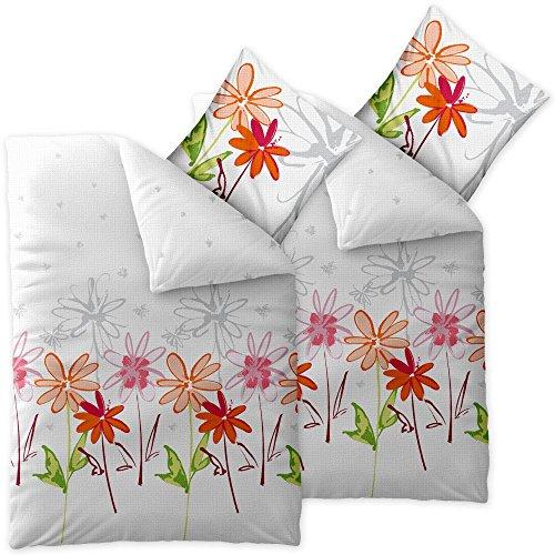 4 teilige CelinaTex Sommer-Bettwäsche | 100% Baumwolle Seersucker Marken Qualität | 135 x 200 cm Serie Enjoy 4-tlg. | Design Ayana weiß grün orange rot Blumen