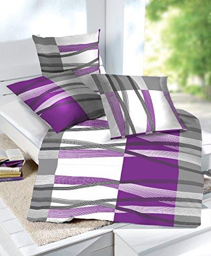 4 tlg doppelpack sparset et rea microfaser seersucker bettw sche hunter streifen gestreift lila. Black Bedroom Furniture Sets. Home Design Ideas