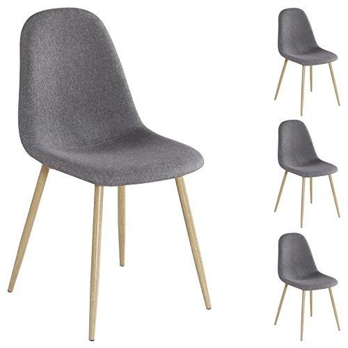 4er Set Esszimmerstuhl Küchenstuhl Stuhlgruppe Essstuhl Stuhl AUGUSTA Stoff grau