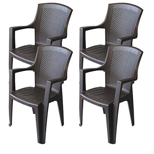 4er set gartenstuhl stapelbar rattan look kunststoff braun. Black Bedroom Furniture Sets. Home Design Ideas