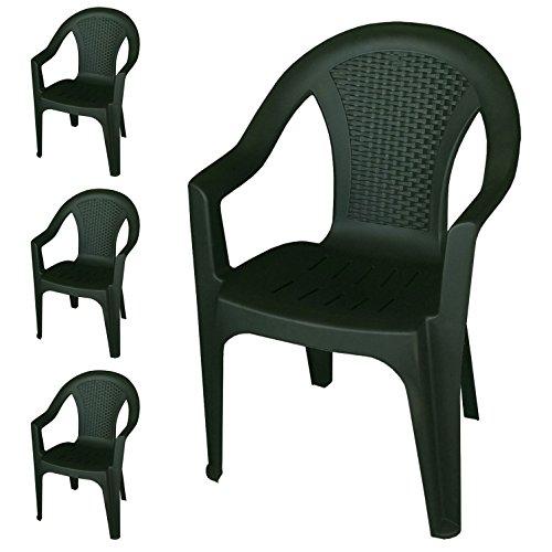 4er set stapelst hle gartenst hle gartensessel stapelbar in rattan optik kunststoff dunkelgr n. Black Bedroom Furniture Sets. Home Design Ideas