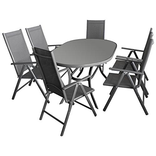 7tlg gartengarnitur gartenm bel terrassenm bel set sitzgruppe sitzgarnitur aluminium glastisch. Black Bedroom Furniture Sets. Home Design Ideas