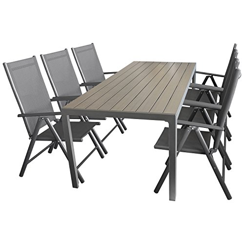 7tlg gartengarnitur sitzgruppe gartenm bel set aluminium gartentisch mit polywood tischplatte. Black Bedroom Furniture Sets. Home Design Ideas
