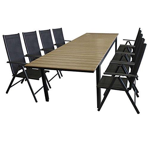 9tlg gartengarnitur sitzgarnitur sitzgruppe gartenm bel set aluminium polywood ausziehtisch. Black Bedroom Furniture Sets. Home Design Ideas