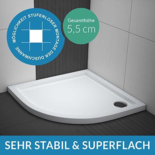 AQUABAD® Duschwanne Comfort Villa Flat 90x90cm Superflach Viertelkreis R55
