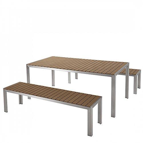 aluminium gartenm bel set braun tisch 180cm 2 b nken polywood nardo m bel24. Black Bedroom Furniture Sets. Home Design Ideas