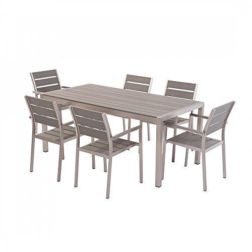 aluminium gartenm bel set grau tisch 180cm 6 st hle. Black Bedroom Furniture Sets. Home Design Ideas