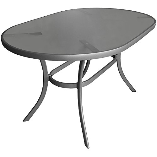 aluminium gartentisch glastisch 140x90cm oval beistelltisch terrassentisch m bel24. Black Bedroom Furniture Sets. Home Design Ideas