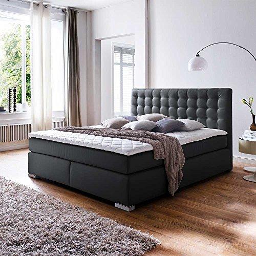 Amerikanisches Bett in Schwarz Matratze Breite 202 cm Liegefläche 200x200 Pharao24