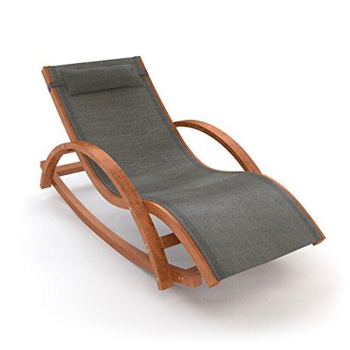 Ampel 24 Relax Schaukelstuhl Rio | 100% wetterfeste Gartenliege | vorbehandeltes Holz | mit Armlehnen | Bezug dunkelgrau