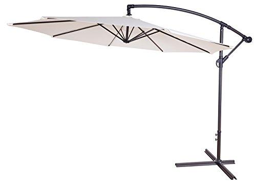 ampelschirm 300 cm aluminium sonnenschirm h henverstellbar mit kurbelvorrichtung beige 3 meter. Black Bedroom Furniture Sets. Home Design Ideas