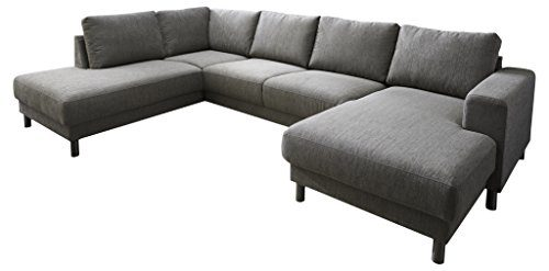 Atlantic Home Collection BALDA-L Wohnlandschaft, Sofa links, 301 x 200 x 82 cm, Strukturstoff grau