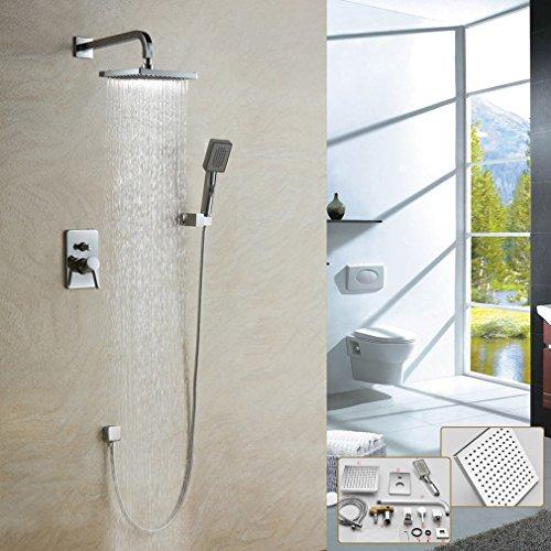 Auralum® 8 Zoll Zeitgenössisch Überkopfbrause (20 x 20 cm) Messing verchromt Duschkopf Duschsystem Regendusche Regenduschkopf Regenbrause Brausekopf Shower Dusche Set
