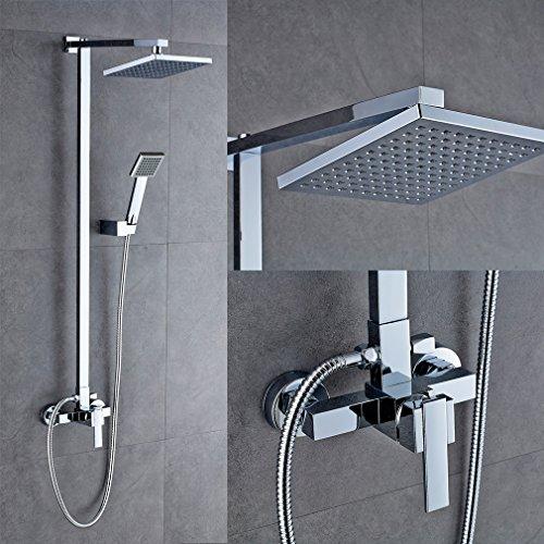 Auralum Design Überkopf-Brauseset rain Duschsystem Duschstange mit Brausethermostat