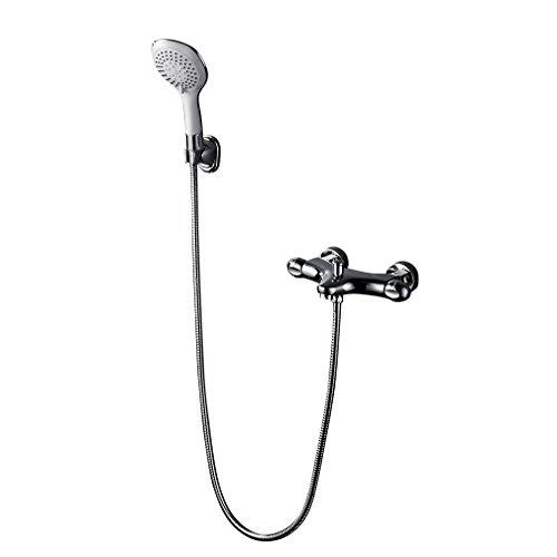 Auralum® Duscharmatur handbrause + Thermostat aus hochwertigem Messing verchromt professionel für bad