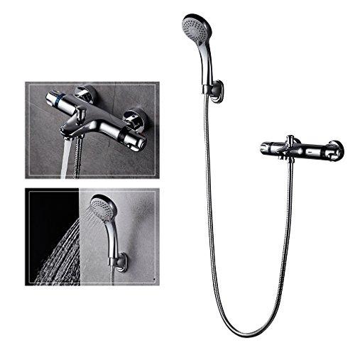 Auralum® Duschsystem handbrause + Thermostat aus hochwertigem Messing verchromt professionel duschset für bad