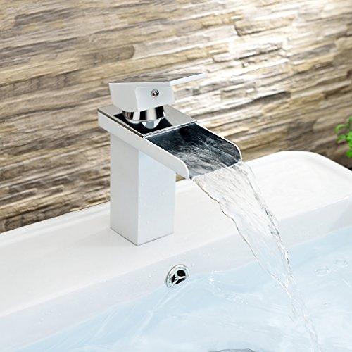 Auralum Einhebel Wasserfall Waschtischarmatur Armatur Einhandmischer mit weißen Einbrennlack-Oberfläche für Küche und Bad