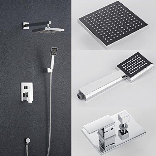 Auralum® Hochwertig Messing Duscharmatur Bad Duschkopf Wasserhahn Handbrause Brausegarnitur Überkopf Brauseset