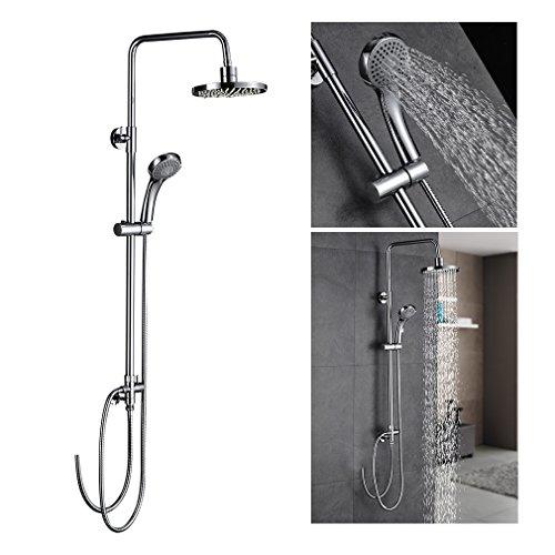 Auralum®Duschsystem komplett Höhenverstellbar aus hochwertigem Messing verchromt silber für bad und Badwanne