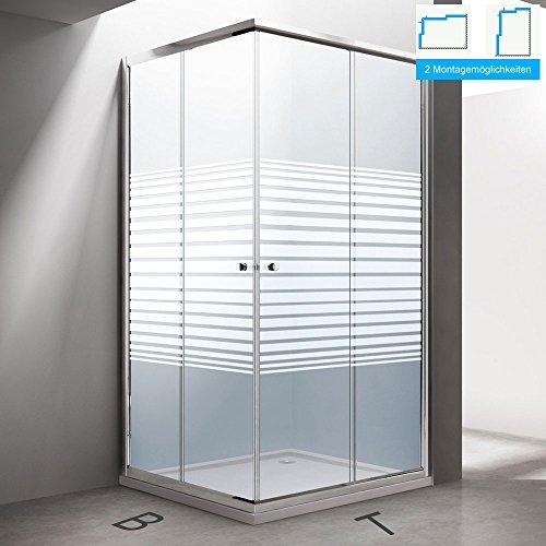BTH: 80x80x190 cm Design Duschabtrennung Ravenna14S, ESG-Sicherheitsglas Klarglas mit Milchglas Streifen, inkl. beidseitiger Nanobeschichtung, Eckdusche