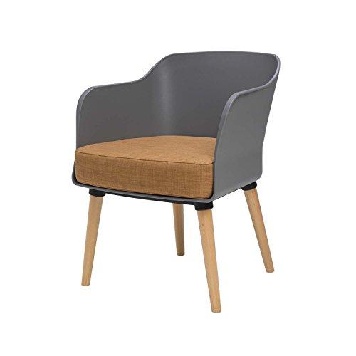 BUTIK Design Esszimmerstuhl Sax - Maße 77x61x49 cm - Sitzkissen aus hochwertiger Baumwolle (grau/braun)