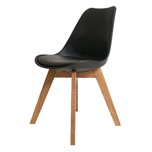 BUTIK FL20361-4 Angebot 4-er Set Moderner Design Esszimmerstuhl Consilium Valido, Eichenholz, 83 x 48 x 39 cm, schwarz
