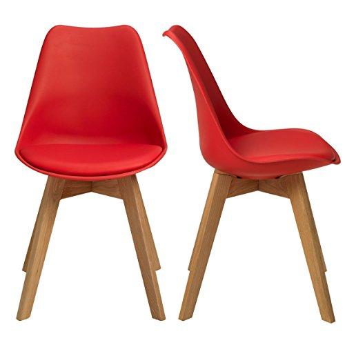 BUTIK FL20365-2 Esszimmerstuhl Valido 2-er Set, Eichenholz, 83 x 48 x 39 cm, rot