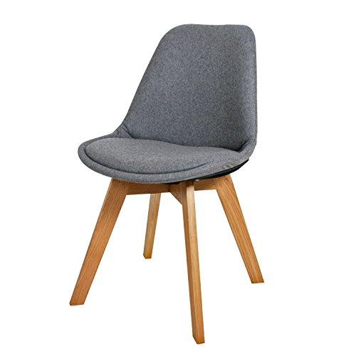 BUTIK Moderner Design Esszimmerstuhl Consilium Valido in Grau/ Holz mit Stoff - Maße 83x48x39 cm