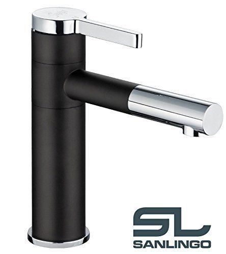 Bad Waschbecken Waschschale Design Einhebel Armatur Wasserhahn Schwarz Chrom Schwenkbar Sanlingo