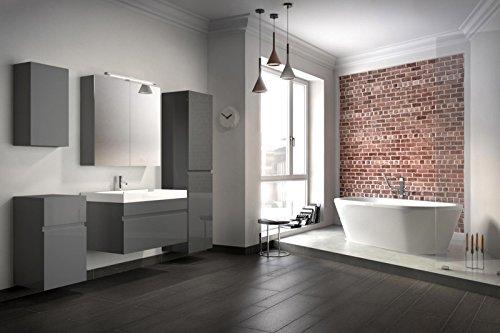 bad11 badm belset pandora 5 teilig 80 cm badezimmer m bel in hochglanz grau mit waschplatz. Black Bedroom Furniture Sets. Home Design Ideas