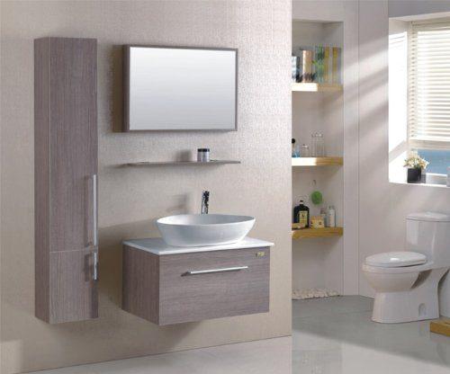 Badezimmermöbel Set Badmöbel Gaia Eiche Holzoptik - M-70110B/243 - Spiegel - Hänge-/Unterschrank - Waschbecken