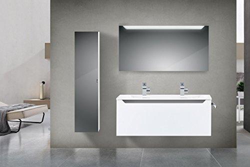 Badm bel set mit 120 cm doppelwaschtisch grau hochglanz for Badezimmer set mit doppelwaschtisch