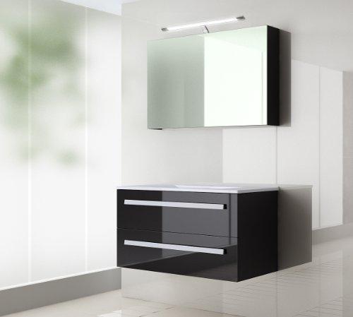 badmbel set atlantis hochglanzschwarz korpus schwarz 120cm besteht aus spiegelschrank mit. Black Bedroom Furniture Sets. Home Design Ideas