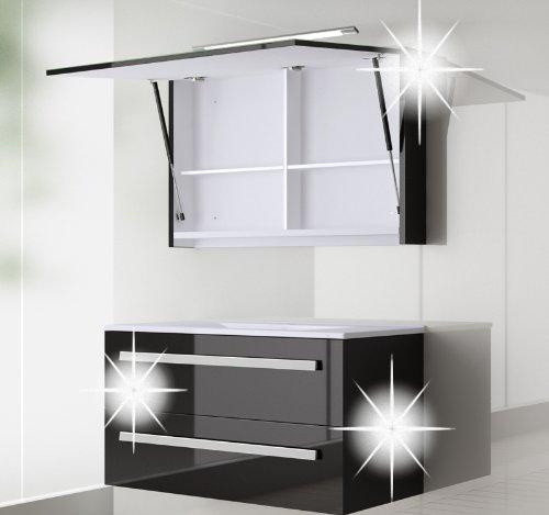 badmbel set atlantis hochglanzschwarz lackiert 90cm besteht aus waschbeckenunterschrank. Black Bedroom Furniture Sets. Home Design Ideas
